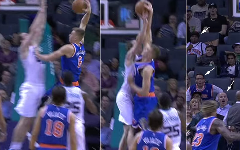 Cody Zeller with the 2 hand Theo Ratliff Block on Kristaps Porzingis