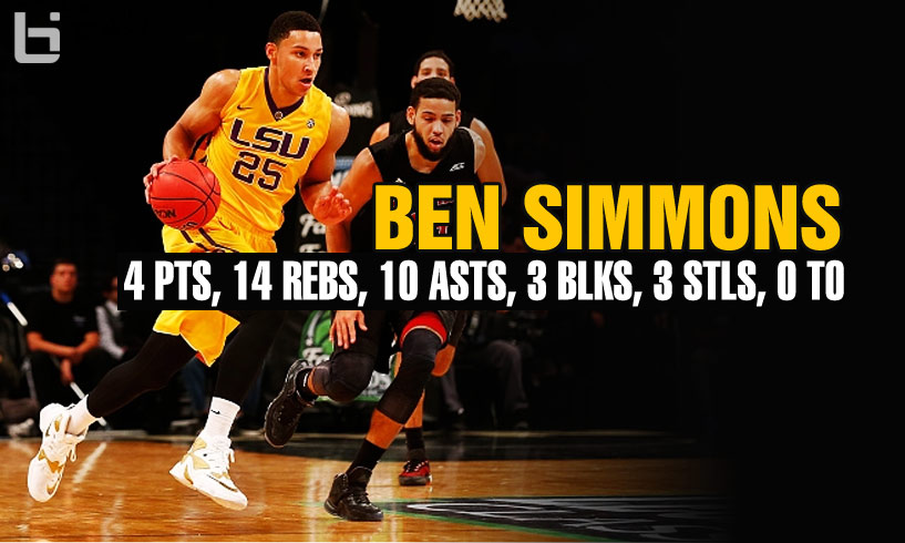 Ben Simmons 14 Rebounds & 10 Assists (0 Turnovers) vs NC State