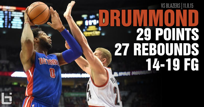 Andre Drummond becomes active 25/25 leader after dropping 29 points & 27 rebounds on Blazers