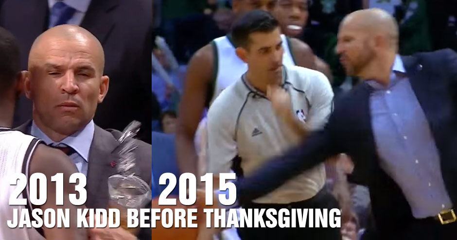 Jason Kidd Slaps The Ball Out of the Refs Hands, Gets Ejected – 2 Years After Thanksgiving Cupgate
