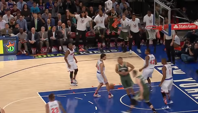 Jabari Parker With the Surprising 180 Dunk on the Knicks