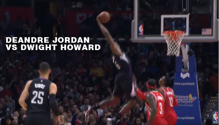 DeAndre Jordan Skies Over Dwight Howard During Clippers/Rockets Dunkfest