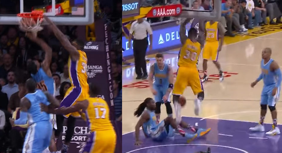 Julius Randle looking like Shawn Kemp with a pair of spin moves & dunks on Faried