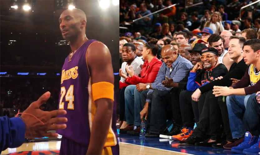 "Kobe Talking Trash to Spike Lee, says the Knicks' Triangle Offense ""ain't no f****ing triangle, that's a square"""
