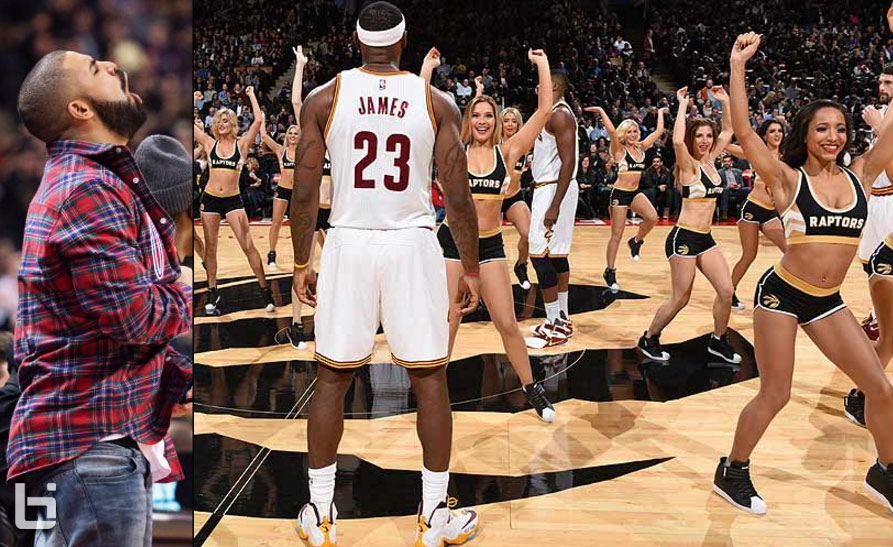 LeBron & Cavs Awkwardly Stand In the Middle Of The Raptors Dancers' Routine