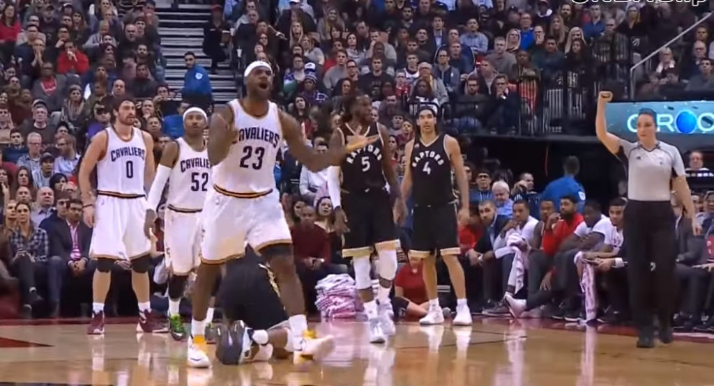 LeBron Flips Out On Refs After Obvious Foul (flop?) on Kyle Lowry