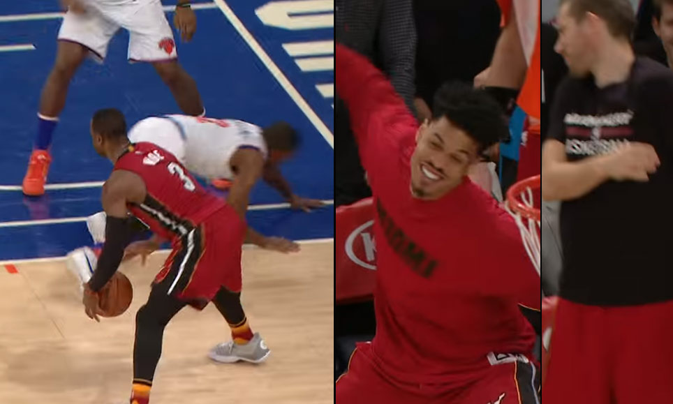 Gerald Green Slaps Beno Udrich in the Face While Celebrating Dwyane Wade's Ankle Breaker on Langston Galloway