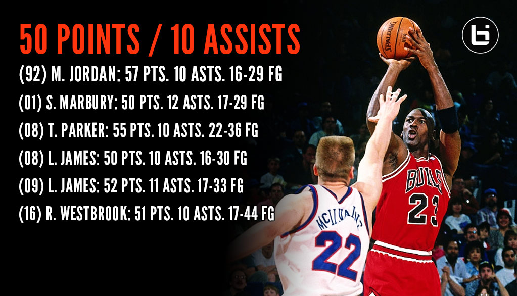 1992: Michael Jordan had 57 points & 10 assists vs the Bullets