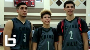 Gelo, Melo and Zo Ball of Chino Hills (Calif.) after Huskies won the 2015 Maxpreps Holiday Classic.