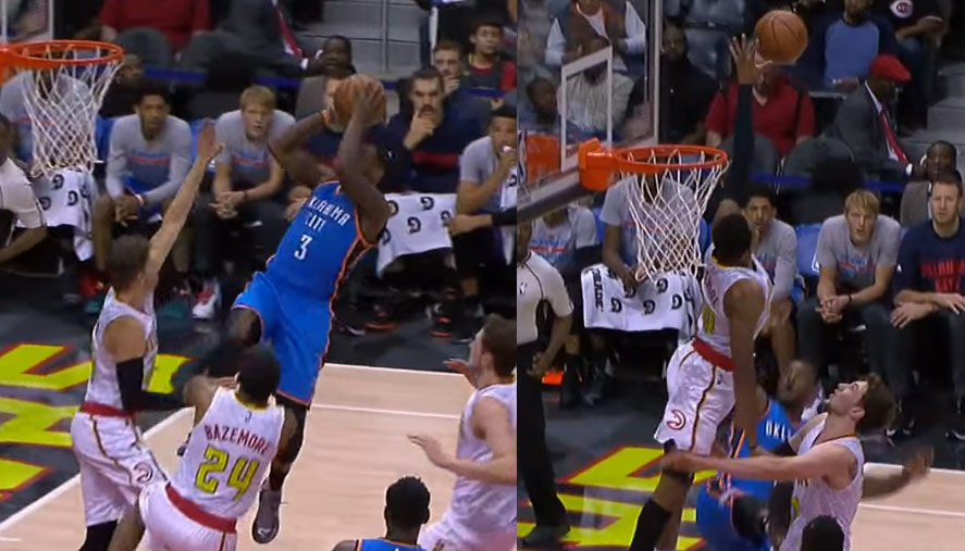 Kent Bazemore Gets Way Up For the Block on Dion Waiters (0-7fg)