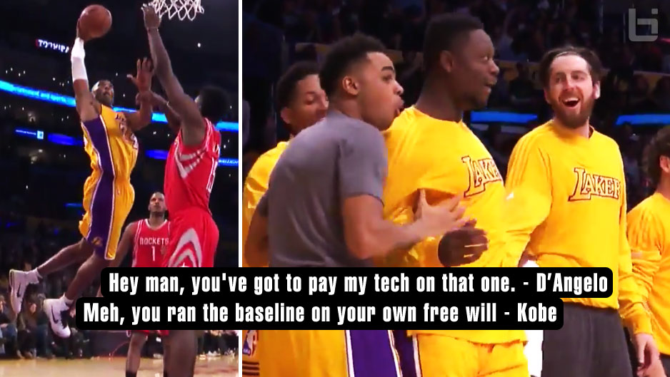 D'Angelo Russell Got A Tech For Celebrating Kobe's Dunk, Asked Kobe to Pay His Fine