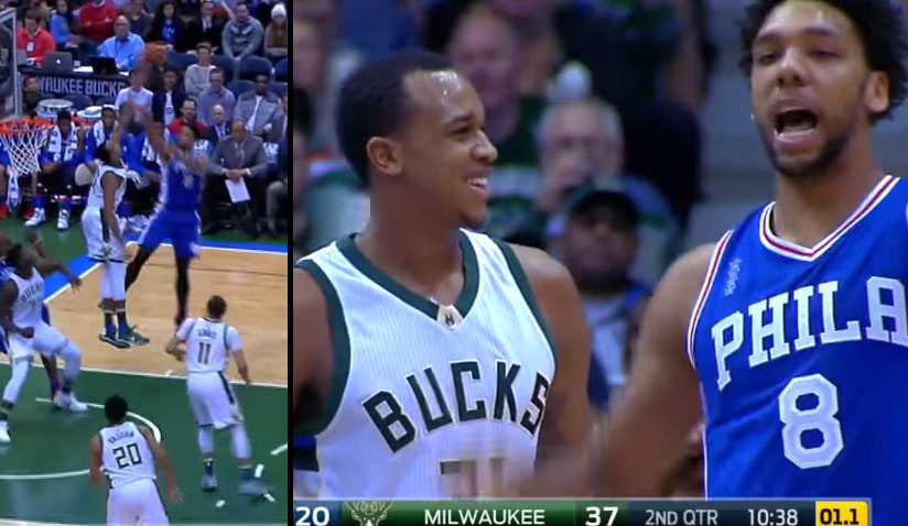 John Henson Was All Smiles After Rejecting Jahlil Okafor Twice On The Same Possession