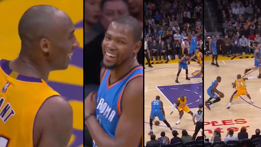 Kobe Bryant Laughs After Getting Crossed By Kevin Durant (Twice) & Blocked