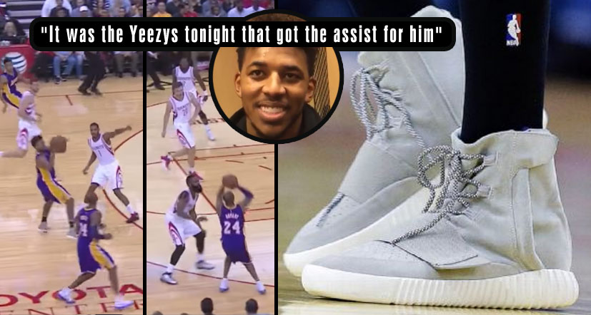 Nick Young Gets His First Career Assist to Kobe Bryant, While Wearing Yeezy 750 Boosts!