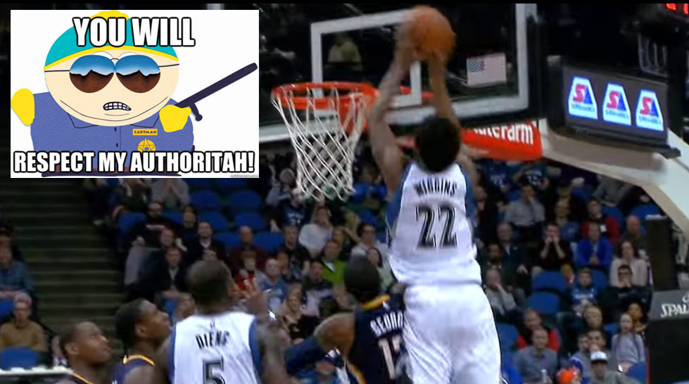 Andrew Wiggins' Put-Back Dunk Over Paul George Turned The Commentator Into Eric Cartman