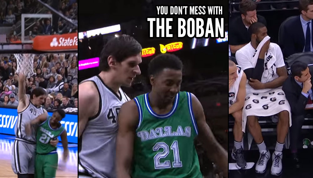 Boban Marjanovic Gets A Tech For Staring Down Jeremy Evans After A Dunk/Hug