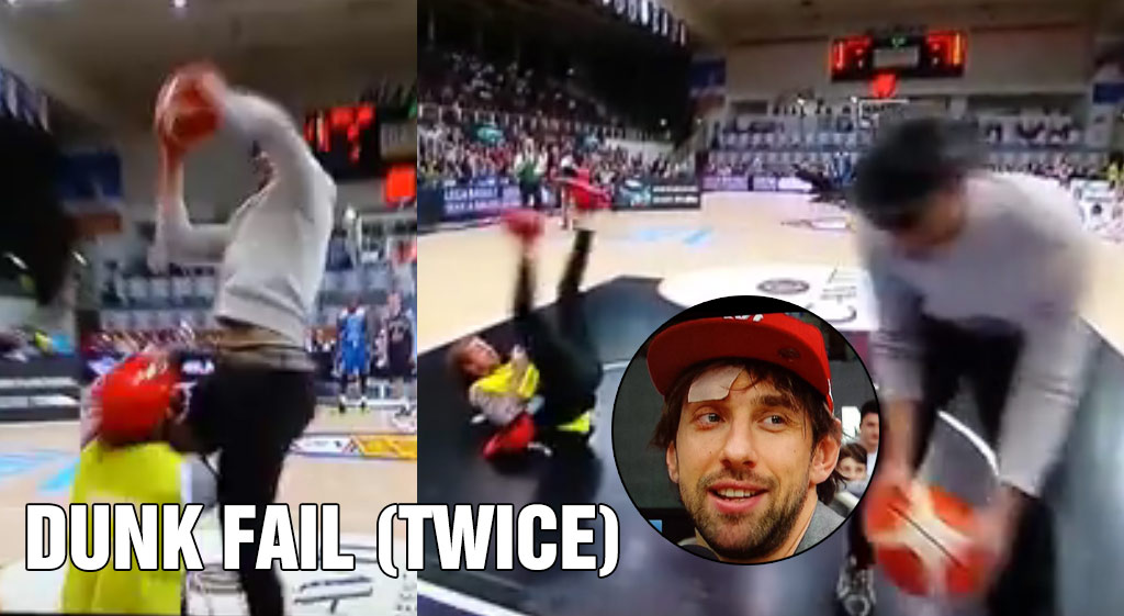 """""""Dunker"""" Leaves Cameraman Bloody After 2(!) Epic Dunk Fails"""