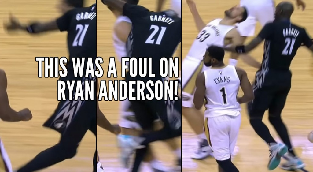 Kevin Garnett Clotheslines Ryan Anderson, Refs Call A Foul On Anderson Even After A Replay!