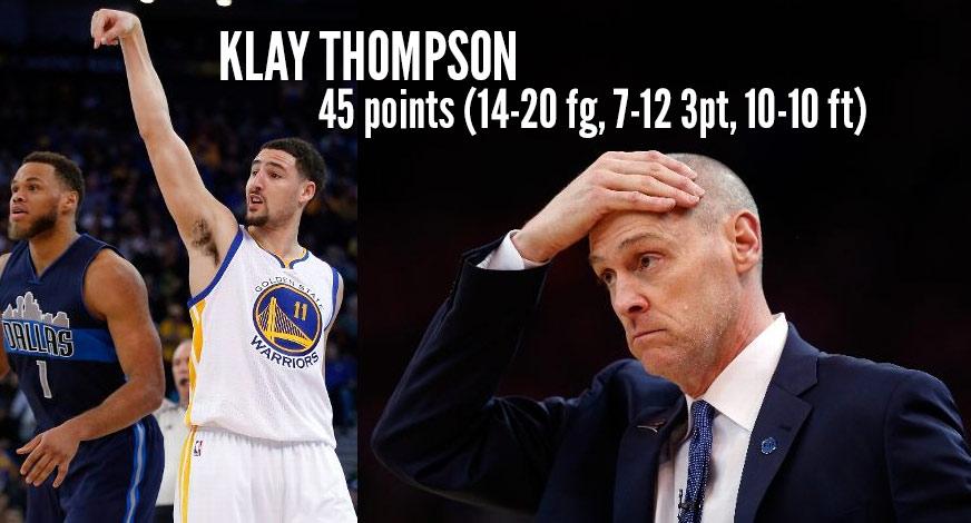 Klay Thompson Scores Season-High 45 in 32 Minutes vs Mavs