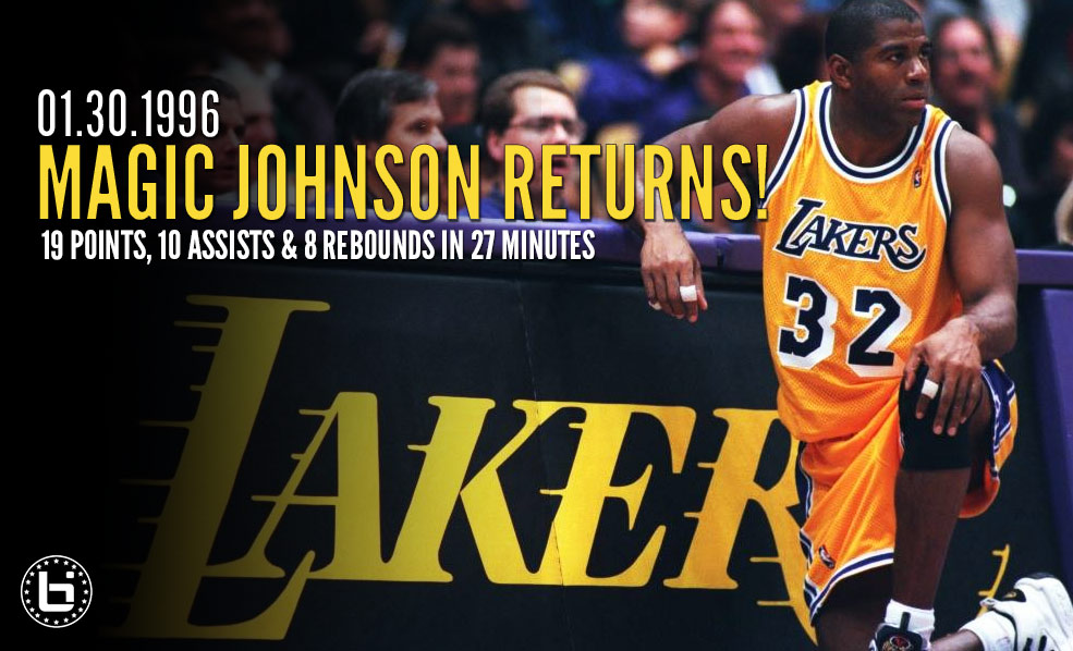 1996: Magic Johnson Returns To The NBA, Near Tripe-Double & Fakes Out Sprewell