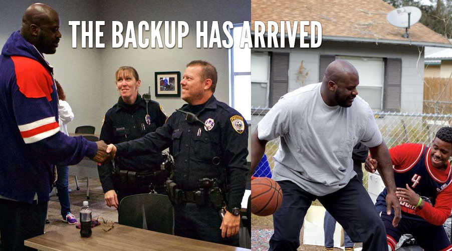 Shaq Surprises Viral Police Officer, Goes With Him To Play Basketball With Local Kids