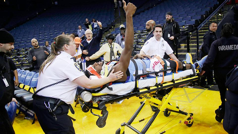 Kenneth Faried Gives Thumbs Up As He's Carried Off On A Stretcher After Suffering A Neck Injury