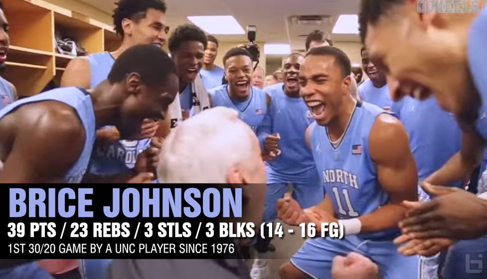 UNC's Brice Johnson Makes History With 39pts, 23rebs, 3stls, 3blks vs FSU