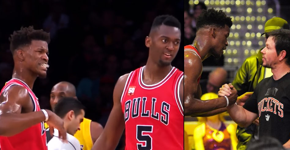 Bobby Portis Hurts Jimmy Butler's Hand, Mark Wahlberg Shows Him How It's Done