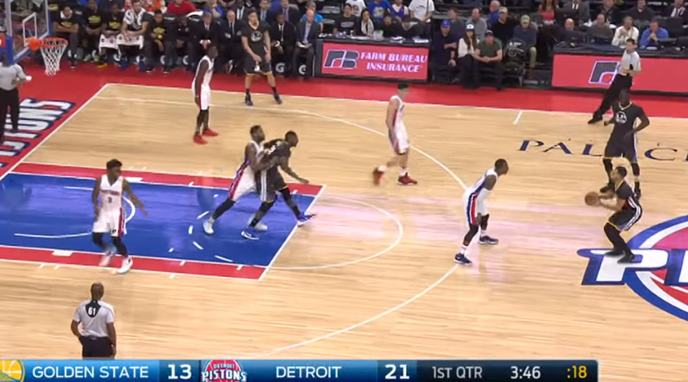 Steph Curry Scores 38, Hits A 3 From the P on the Pistons Logo