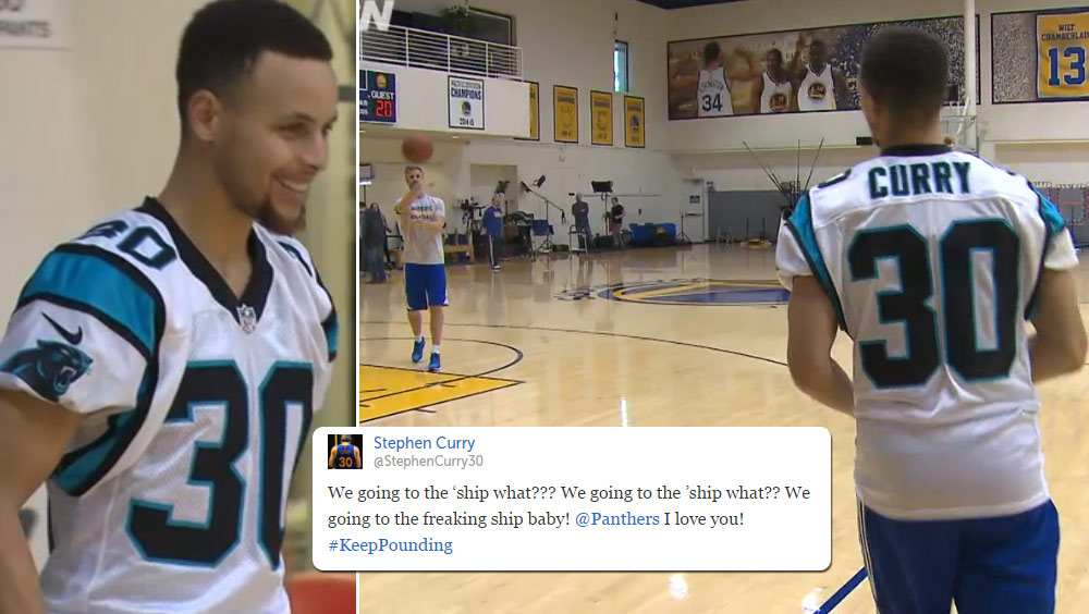 2 Minutes of Steph Curry Draining 3s While Wearing A Panthers Jersey