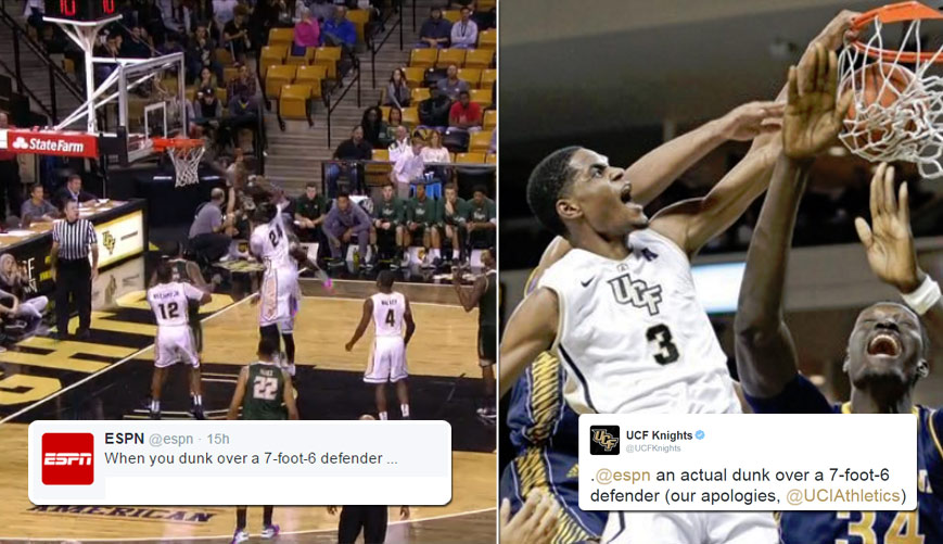 """UCF Didn't Appreciate ESPN's Video of 7'6 Tacko Fall Getting """"Dunked On"""""""