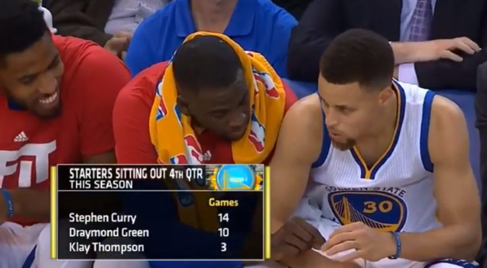 Draymond Green Passes An Imaginary Joint To Steph Curry On The Bench
