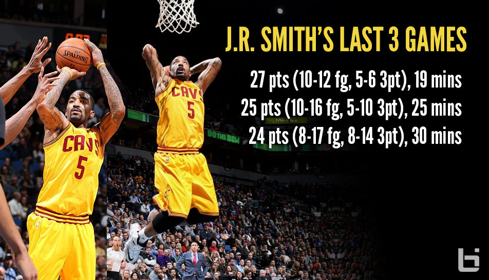 J.R Smith Stays Red-Hot, Scores Season-High 27 in 19 Minutes!