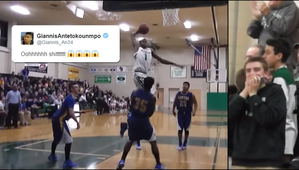 Greek Freak's Lil Brother, Kostas, Posterizes Defender, Refs Call It A Charge!?!