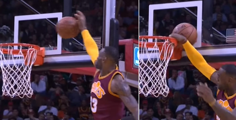 DUNK FAIL: LeBron Gets Waaaaay Up For The Wedgie