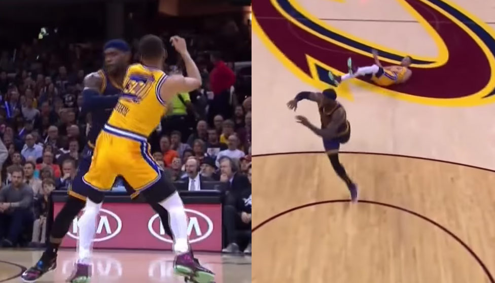 LeBron James Shoves Red Hot Steph Curry To The Ground