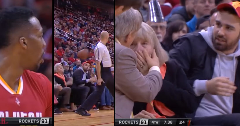 Dwight Howard Hits An Old Lady In The Face With A Bad Pass