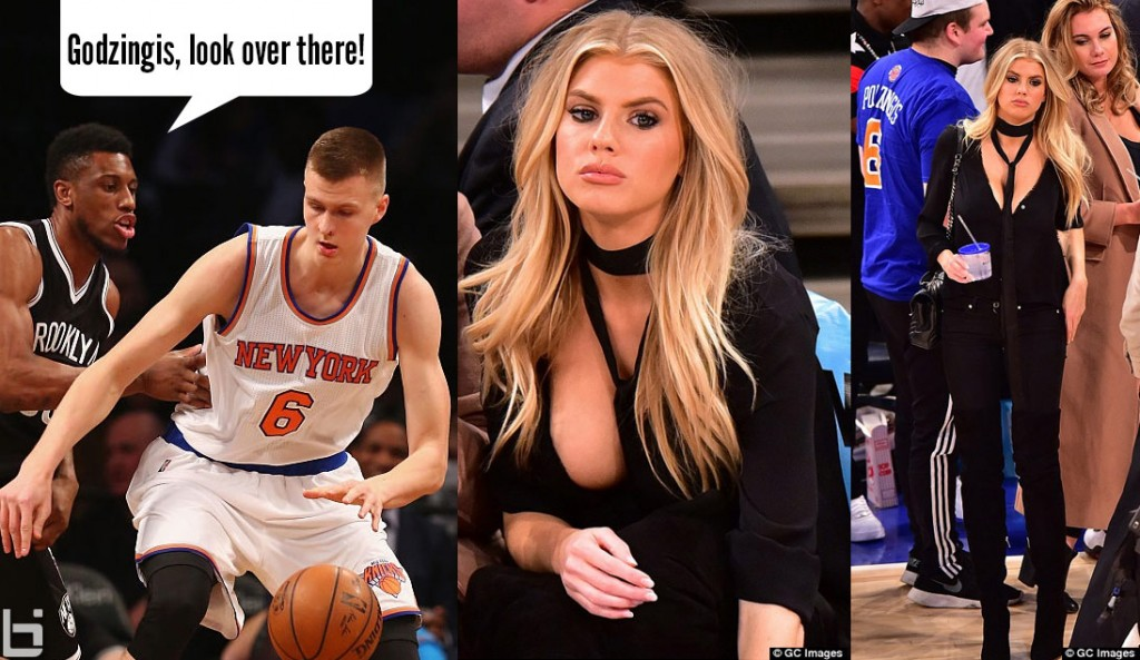 Kristaps Porzingis Misses Dunk, Maybe He Saw Charlotte McKinney On The Sidelines