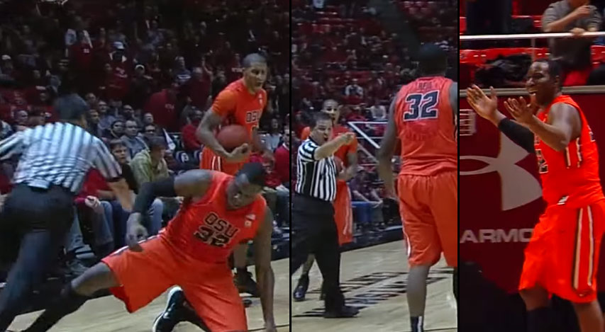 SMH! College Player Intentionally Trips Ref Then Acts Like He Didn't Do It