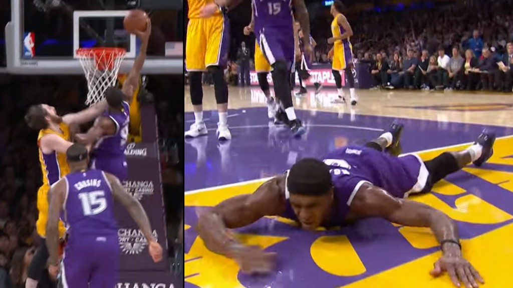 Rajon Rondo Dunks On Ryan Kelly, Always Seems To End Up On The Ground After A Big Dunk