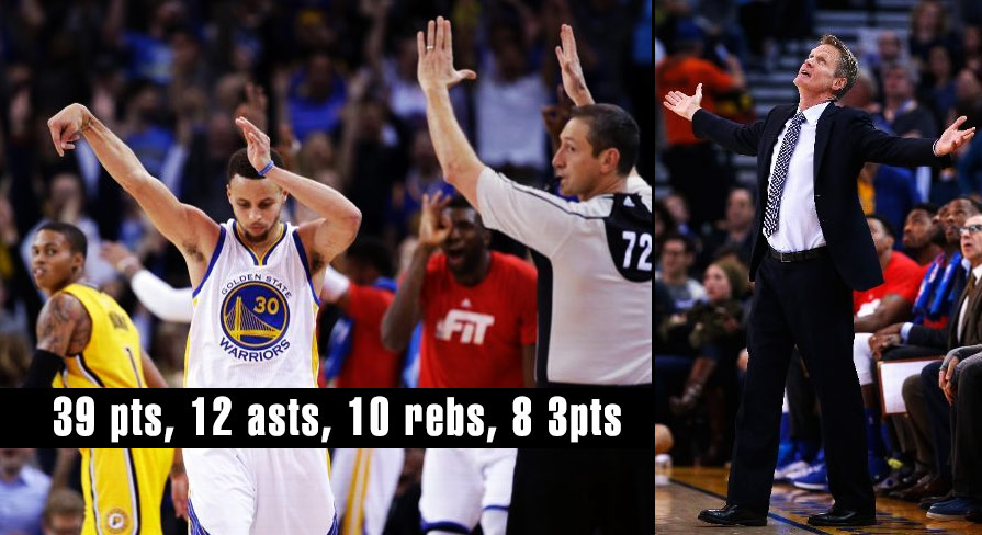Steph Curry 39 pts, 12 asts, 8 rebs, 8 3pts & 2 half court shots vs Pacers