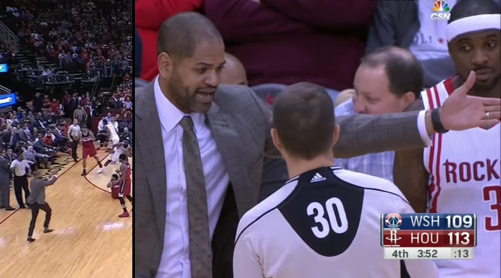 Rockets coach J.B. Bickerstaff gets a tech for running onto the court to call a timeout