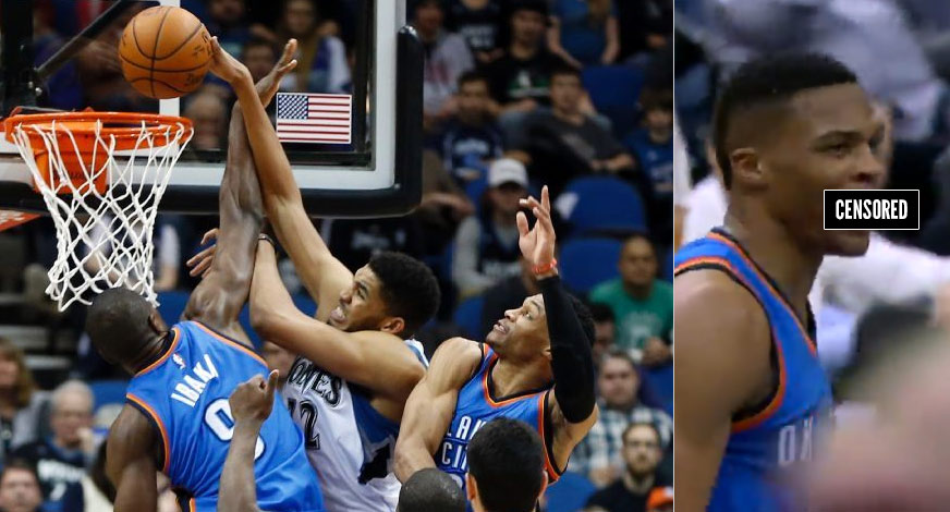 Westbrook Had A Great Reaction To Karl-Anthony Towns' Monster Dunk Over Ibaka