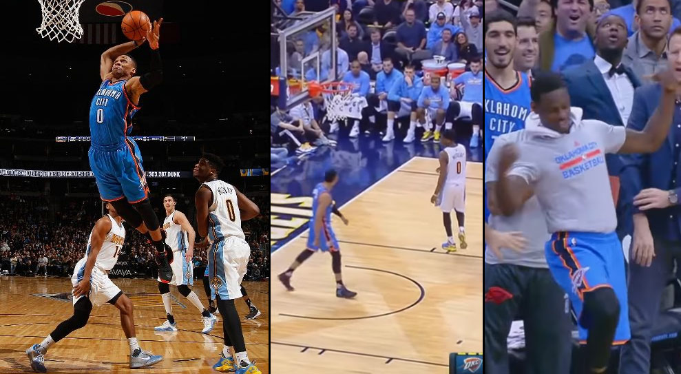 Russell Westbrook Dunks, Stares At The Nuggets Bench While The OKC Bench Dances