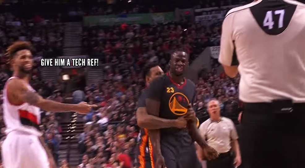 Draymond Green Gets A Tech After Flipping Out Over A Foul Call