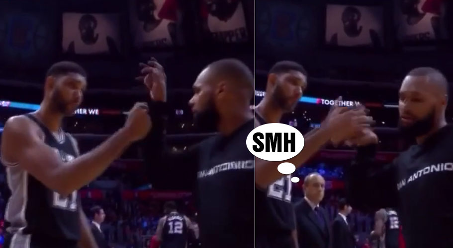 Tim Duncan & Patty Mills Have A New Awesome/Awkward Handshake
