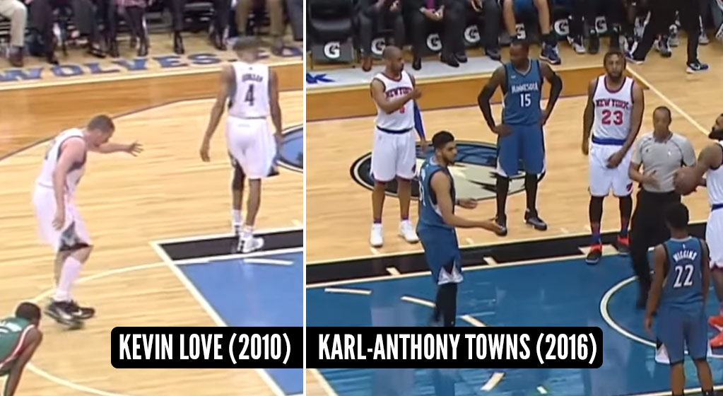 No Love! The Kevin Love Handshake Curse Strikes Karl-Anthony Towns