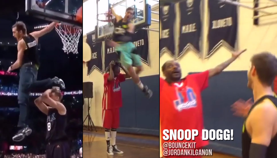 The Viral All-Star Dunker In Jeans Does His Trademark Dunk Over 6'4 Snoop Dogg!