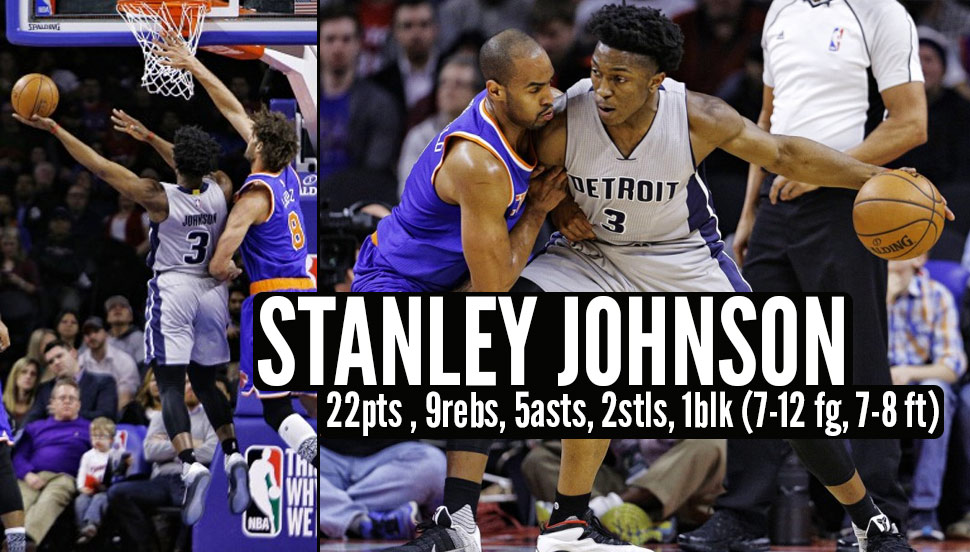 Rookie Stanley Johnson Shines In 2nd Start, Scores Career-High 22 With 9 Boards