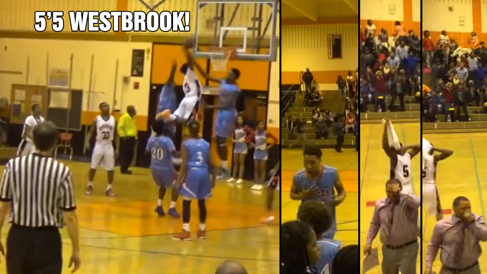 5'5 Melvin Lee Dunks On 2 High School Defenders, Coaches & the Other Team Go Crazy!
